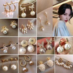 2021 Fashion Pearl Tassel Stud Earrings Drop Dangle Women Wedding Jewelry Gifts
