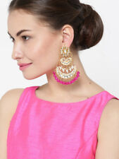 Indian Bollywood Partywear Pink Pearl Kundan Earrings Diwali jewelry Diwali