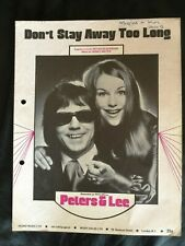 Peters & Lee - 'Dont Stay Away Too Long' -1970's Vintage Sheet Music Score!
