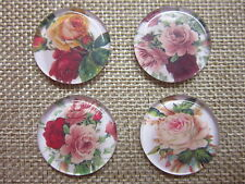 4 pcs Roses Glass round Cabochons mix 25 x 4.5 mm findings