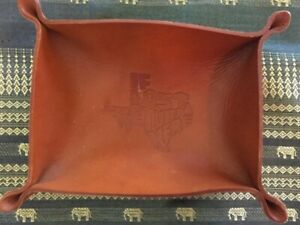 Leather Valet- Trinket Tray- Embossed In The Shape Of Texas- If Lost Return Here
