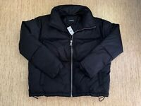 Women's Express Short Puffer Jacket Size Large Black - New With Tags