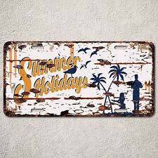 LP0102 Summer Holidays Sign Auto License Plate Rust Vintage Home Store Decor