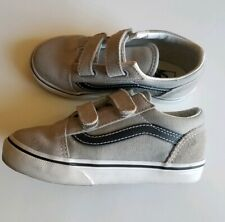 Euc Vans Sz 10 Toddler Slip On Sneakers Gray Black Shoes