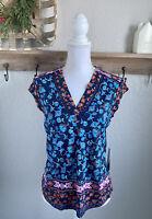 Stitch Fix Daniel Rainn Finli Knit Top Floral Size Small Navy Blue NEW