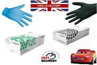 DISPOSABLE NITRILE GLOVES 100 % POWDER FREE LATEX FREE BLACK AND BLUE S M L XL