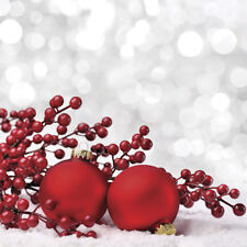 """Christmas Paper Luncheon Napkins 40 pcs 13""""x13"""" Red Baubles on Snow"""