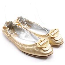 ESCADA Ballerinas Gr. EUR 37 Gold Damen Schuhe Shoes Leder Leather Flats
