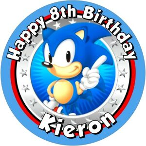 """Sonic the hedgehog, 7.5"""" , 2"""" , 1.5"""" ROUND EDIBLE ICING PRINTED CAKE TOPPER"""