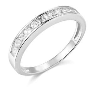 1.00 Ct Brilliant Princess Cut Diamond Wedding Band Ring Solid 14k White Gold