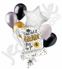7 pc You Did It Diploma Grad Balloon Bouquet Party Decoration Graduation Silver