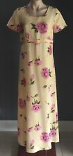 Vintage Gem MILLERS Sand Colour Short Sleeve Floral Print Maxi Dress Size 10