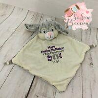 Personalised Baby Comforter Blanket, Cubbie Grey Bunny,  New Baby Gift
