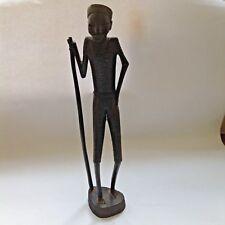 Vintage African Hand Carved Wooden Tribesman / Warrior / Herdsman