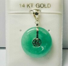 Yellow Jade 14k Solid Gold Chinese Good Luck Pendant