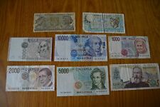 LOTTO 8 BANCONOTE LIRE 10000 VOLTA 5000 BELLINI 2000 GALILEO MARCONI 1000 500