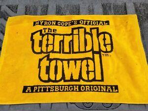 RARE Myron Cope Terrible Towel PITTSBURGH STEELERS 2 sided black/yellow cloth