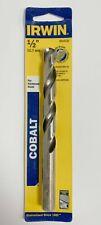 """IRWIN 1/2"""" COBALT DRILL BIT 3016132 SPLIT POINT 6"""" LONG JOBBER HARDENED STEEL"""