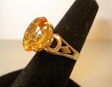Gorgeous Vtg Estate 14K Gold 11.50 ct Genuine CITRINE Solitaire  ART DECO  Ring
