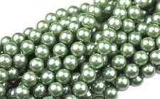75 Sage Green Czech Glass Pearl Beads 6MM