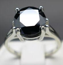 5.08cts 10.68mm Real Natural Black Diamond Ring AAA Grade & $2740 Value