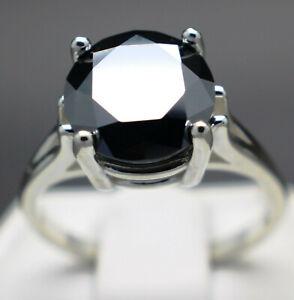 5.60cts 11.00mm Real Natural Black Diamond Ring AAA Grade & $3000 Value..