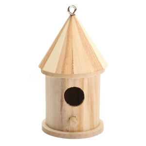 1X(Wooden Bird House Birdhouse Hanging Nest Nesting Box With Hook Home Gar I7W4