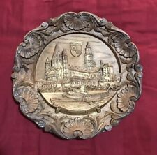 Vintage Mainz Cathedral German Carved Wooden Wood Resin 3D Wall Plate Plaque