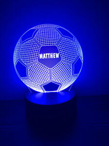 Personalised Multi Coloured LED Football Night Light Bedroom Sign - Any Name