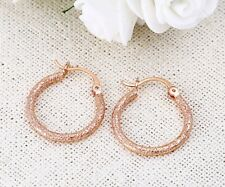 "9ct 9K ROSE "" Gold Filled "" Prom 2 x 23 mm Hoop Earring Valentine Gift E584rg"