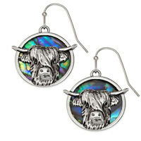 Highland Cattle Earrings Paua Abalone Shell Silver Fashion Jewellery 25mm Drop