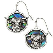 Highland Cattle Earrings Paua Abalone Cow Silver Fashion Jewellery Gift Boxed
