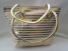 GOLD EXTRA LARGE STRIPED DESIGN GOLD HANDLES/BEACH BAG/ SHOPPER/HOLIDAYS/TRAVEL