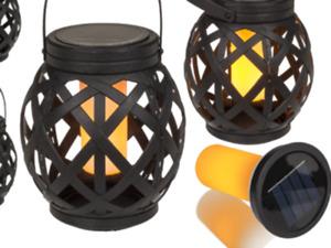 Black LED Solar Lantern With Handle Basket Table Lamp Moroccan Décor Patio Lamp