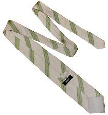 HUGO BOSS Classic Mens Textured Stripe Silk Tie Cream Green Black  RRP £80