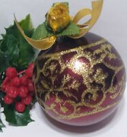 Vintage Christmas Ornament Mercury Glass Mica Glitter Stencil Gold Rose Bow
