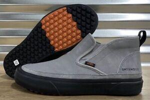 Vans Mens Size 6.5 Women's 8 Mid Slip On SF MTE Leather Suede Grey Gray Black