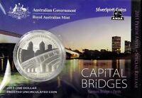 2011 CAPITAL BRIDGES NARROWS BRIDGE PERTH Silver Coin on Card ANDA Release