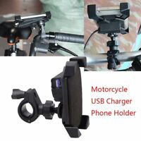 Universal Motorcycle Handlebar Cell Phone Holder Mount w/ USB Charger