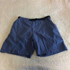 REI Women's Shorts Size Lg Blue Zip Side Pockets Belt Zip Front 100% Nylon
