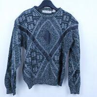 Vintage Mens Black Argyle Knitted Crew Neck Sweater Jumper SIZE Large, L