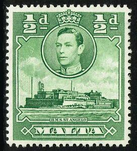 SG 218 MALTA 1938 - HALFPENNY GREEN - MOUNTED MINT