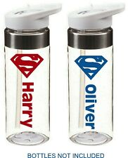 SUPERMAN personalised bottle name stickers for school for drinks water bottle