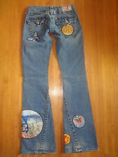 True Religion Joey Society Club patchwork butterfly mushroom jeans 24 (23) RARE