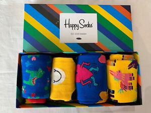 Unisex Colourful Cotton Mix Happy Socks 4 Pack Size 7.5/11.5 (EUR 41-46)     (a)