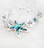 SILVER TONED ABALONE SEA LIFE STARFISH SAND DOLLAR SHELL NECKLACE EARRING SET