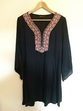 Ladies Size 10 Odel Black Beeded Embroidered V-Neck Beach Cover <LR989