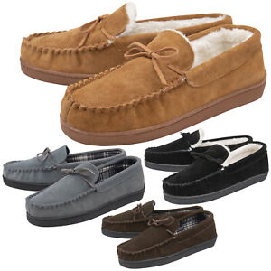 DUNLOP - Mens Real Suede Leather Faux Sheepskin Fur Plush Fleece Lined Moccasin