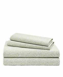 Ralph Lauren Spencer Leaf Cotton 4.-pc QUEEN Sheet Set $170 Sage/White