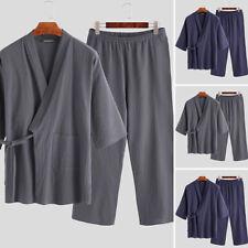 Men Soft Kimono Long Sleeve Pyjamas Suit Pant Bath Robe Oriental Loungewear Set